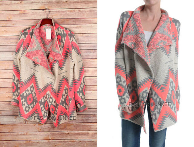 NEON HOT PINK GREY 15 AZTEC TRIBAL CARDIGAN Print Sweater Southwestern S M L