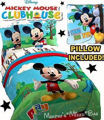 DISNEY MICKEY MOUSE Boy Single/Twin Size Bedding COMFORTER SET+Sheet+Sham+Pillow