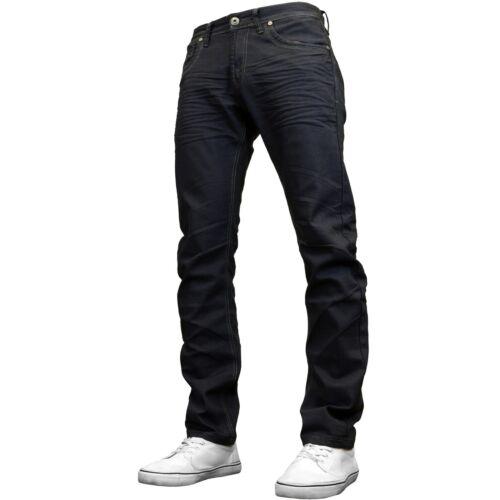 Crosshatch Mens Slim Fit Coated Denim Straight Leg Jeans