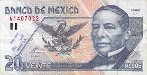 Mexico-20-Pesos-1999-P-106-Free-to-Combine-Low-shipping