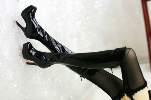 1//3 SD16 BJD Doll Shoes Knee-high Long Boots Patent Leather AOD IP EID B/&G Black