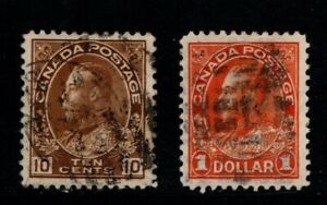 Canada 1922 1931 King George V 10c and $1 SG254-55 Sc 118, 122 Used