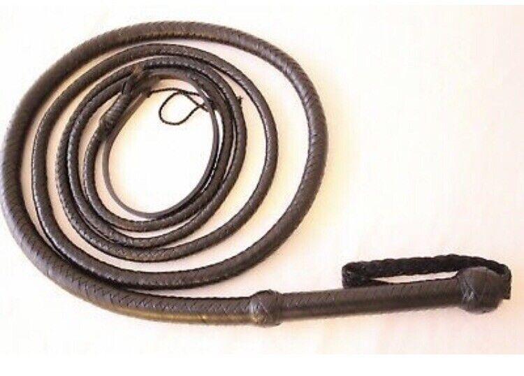 Genuine Cuero Cuero De Vaca 12 pies de largo, 12 Trenzada durable negro látigo de toros