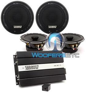 pkg (2) SA-6.5CX COAXIAL SPEAKERS + SUNDOWN AUDIO SAE50.4 4CHANNEL AMPLIFIER NEW