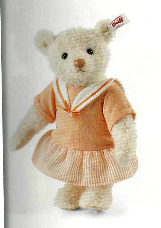 STEIFF  EDITH TEDDY BEAR   EAN 034145 LIGHT APRICOT MOHAIR WITH APRICOT DRESS 9
