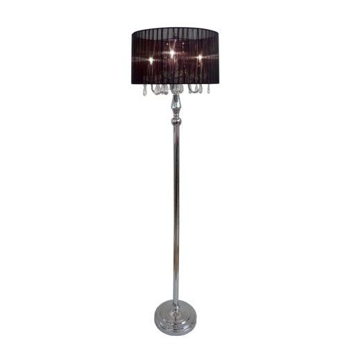 Floor Lamp 5ft Hanging Crystals Black Chrome Shade 3 Lights Bedroom Living Room