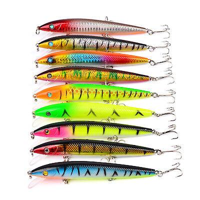 5PCS Sea Fishing Crank Lure Floating Minnow artificial bait hook 13.3cm//23.5g