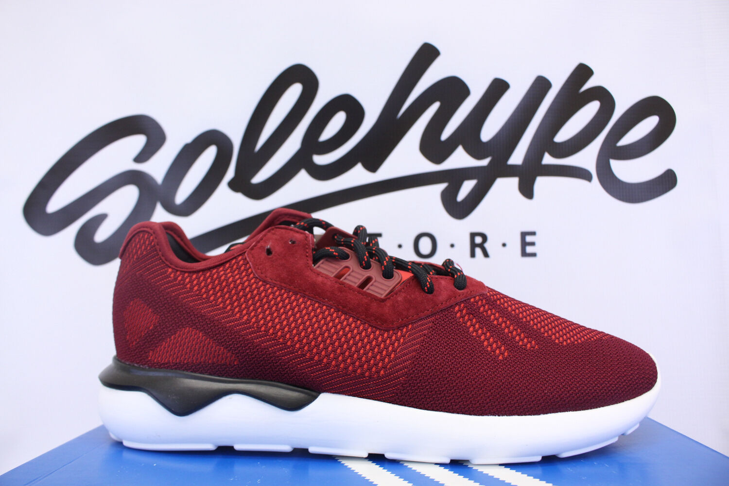 ADIDAS TUBULAR RUNNER WEAVE COLLEGIATE BURGUNDY RED BLACK WHITE S74812 SZ 9.5