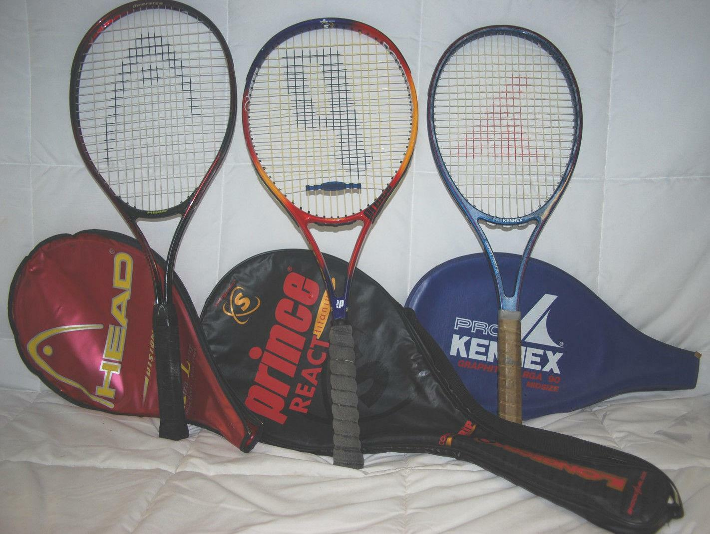 PRINCE FUSION LONGBODY 107, PRO KENNEX 90, HEAD VISION XL TENNIS RACQUETS W BAGS