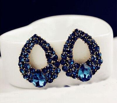 1Pair Fashion Womens Blue Rhinestone Crystal Drop Gold Plated Ear Studs Earrings