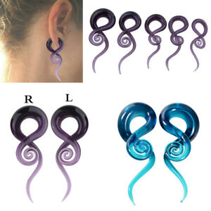 Image Is Loading Pair Spiral Ear Taper Plugs Glass Gauges