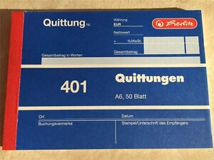 1 x Herlitz Quittungsblock 401 Quittung DIN A6 50 Blatt ***