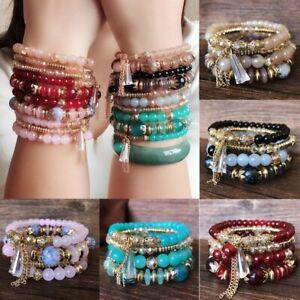Multi-layer Boho Crystal Beads Cuff Bangle Bracelets Set Jewellery Women