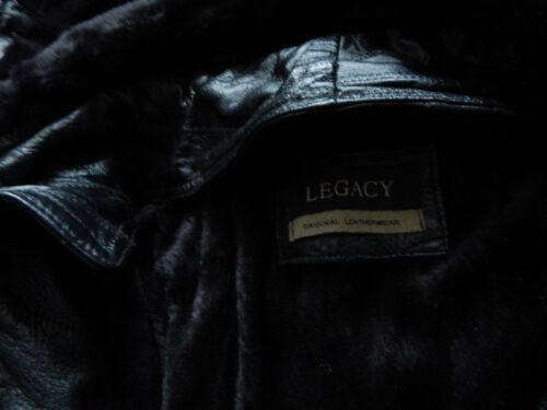 legado con negro vellón invierno Chaqueta para con con cremallera de hombre de cuero Gran capucha forrado 8xwEEvU