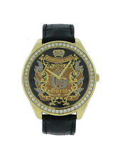 Guess W11011L1 Women's Analog Clear Stone Black Leather Stainless Steel Watch