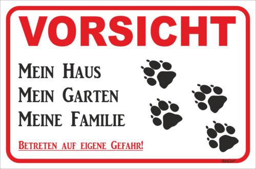 Schild Vorsicht - Tatzen - Mein Haus - 15x20 - 40x60cm Hund Teckel