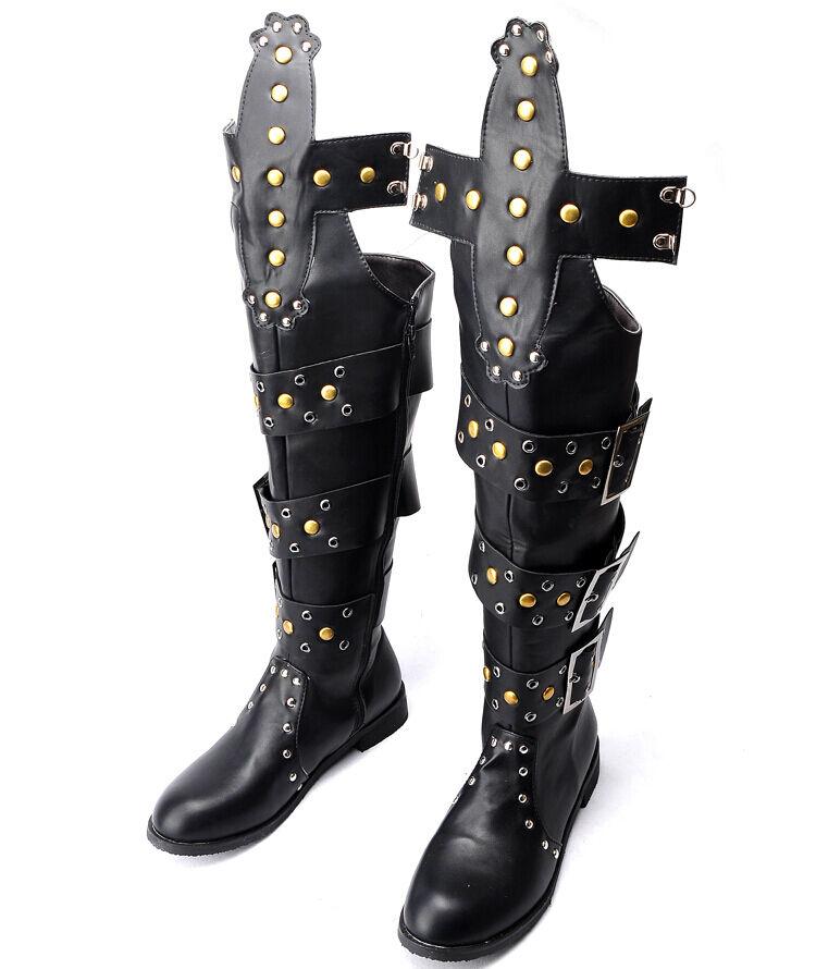 Venta CALIENTE para Hombre de Cuero con Remaches Taco Plano combate militar la rodilla botas altas Zapatos Talla