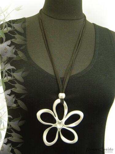 City Geiser Lagenlook larga Mode-collar colgante-cadena negro plata