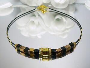 Halskette-Wuerfelkette-Collier-Wuerfel-Hamatit-gold-schwarz-bronze-Strass-268u