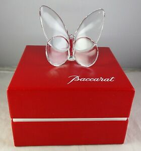 Baccarat-Lucky-Butterfly-Clear-Glass-Sculpture-Figurine-With-Box-Signed