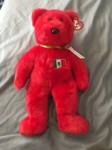 "1999 Beanie Babies Buddies LG 12"" Osito Red Mexico Teddy Bear Tag EXC MWMT"