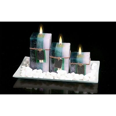 NEW GIFT SET WITH 3 SCENTED AROMATIC MOOD WAX CANDLES GLASS PLATE STONES CANDLE