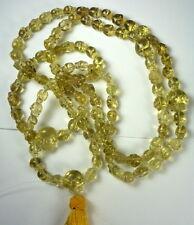 Tibetan High Altitude YELLOW CITRINE Quartz Crystal 112 SKULL PRAYER BEAD MALA