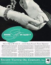 1934 BIG Vintage Socony Vacuum Oil Co. Leather Fashion Glove Photo Print Ad