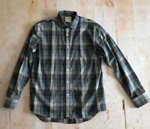 BILLY-REID-Standard-Cut-Mens-Button-Down-Shirt-Gray-Plaid-Size-L-Large