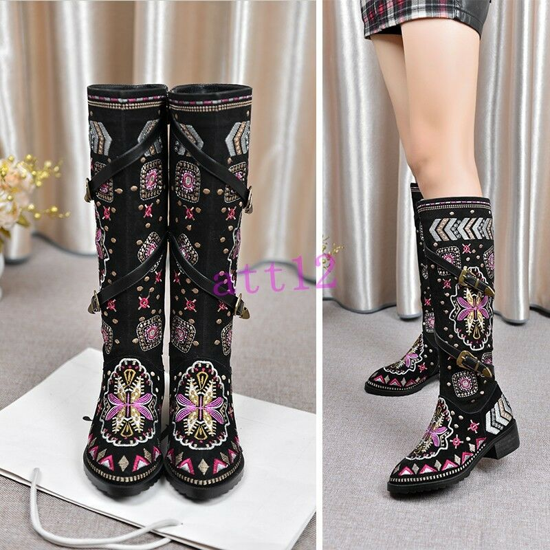 Embroider Suede Womens Knee High Boot Retro Low Heel Zipper Shoe Black All US Sz