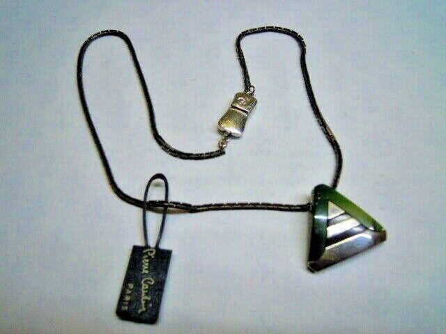 Collana PIERRE CARDIN con ciondolo triangolo pietra green catena brunita