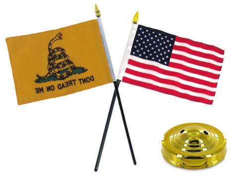 "Gadsden Yellow Snake Don/'t Tread on Me w// USA Flag 4/""x6/"" Desk Set Gold Base"