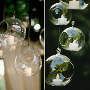 Glass-Clear-Open-Mouth-Bauble-Round-Candle-Tea-Light-Holder-Hanging-Bables-Gift