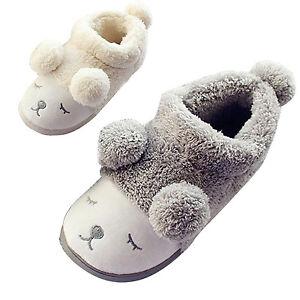 Chaussons-Pantoufle-Mules-Femme-Confortable-en-Coton-Forme-Mouton-Maison