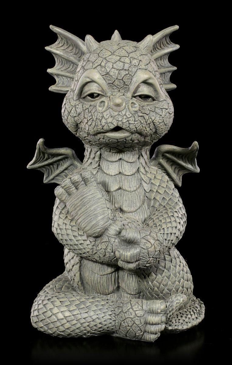 Dragón Figura de Jardín - Yoga - Lindo Decoración Fantasy Estatua Gartendrache