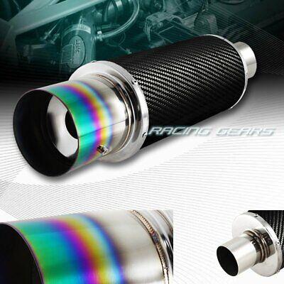 """4/"""" N1 Green Burnt Tip Carbon Fiber Wrap Exhaust Muffler 2.5/"""" Inlet Universal 3"""