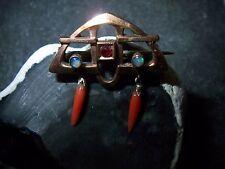feine  Brosche Jugendstil rotgold Opal rote Koralle Pampeln als Abhängung