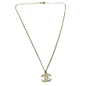 shopping high fashion official CHANEL Vintage CC Rhinestone Pendant Necklace Silver France ...