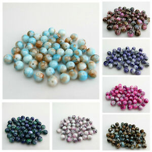 NEW-ARRIVAL-50PCS-8MM-MULTI-COLOURED-FLORAL-GLASS-BEADS-FOR-JEWELLERY-MAKING
