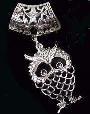Scarf Pendant Silver Pewter Filigree Owl Slide Scarves