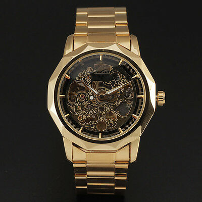 Gorgeous Golden Skeleton Dial Mechanical Wrist Watch Men Luxury Brand Reloj Uhr