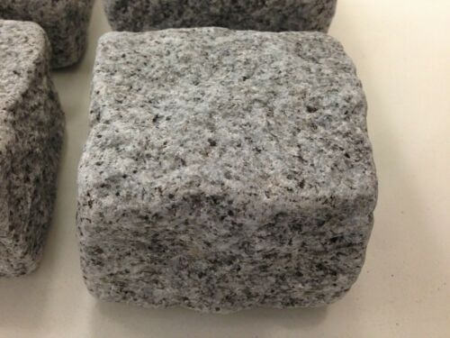 Tumbled Silver Grey Granite setts// Cobbles 100mm x 100mm x 50mm Smooth