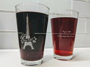 Cafe-de-la-Tour-d-039-Eiffel-Design-Etched-French-Tumbler-Glassware-Set-of-2