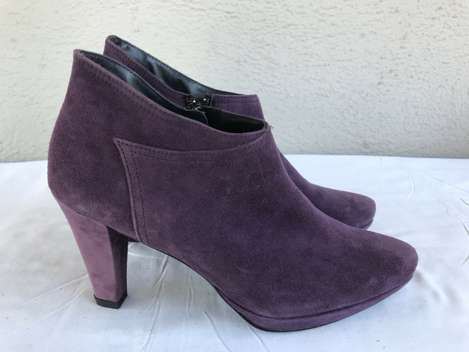 MINT Paul Green 4 Purple Suede Leather US 6.5 High Heel Ankle Booties B