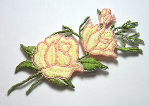 PINK-WHITE-ROSE-FLOWER-Embroidered-Sew-Iron-On-Cloth-Patch-Badge-APPLIQUE