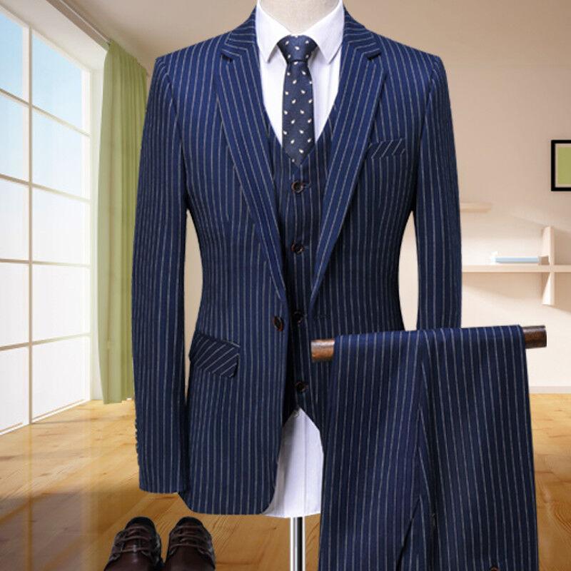 Herren Blau Texturiert 3Pcs Anzüge Besondere Slim Fit Hochzeit Feier Anzüge