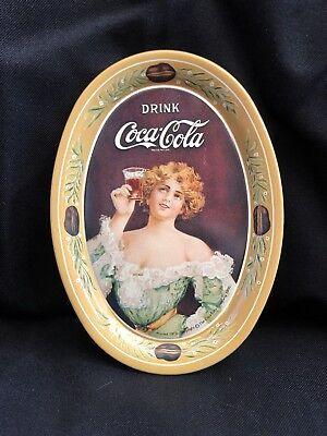 Vintage COCA COLA Tip Tray Reproduction of 1917 Original Yellow Metal Coke Girl