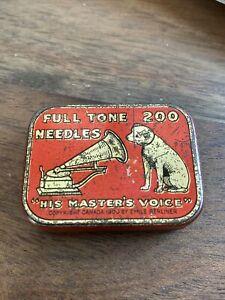 HMV His Master's Masters Voice Nipper VICTOR Full Tone Needles Gramophone Tin