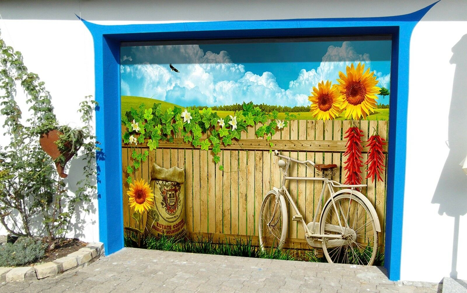 3D Sky Bicycle 86 Garage Door Murals Wall Print Decal Wall AJ WALLPAPER UK Carly