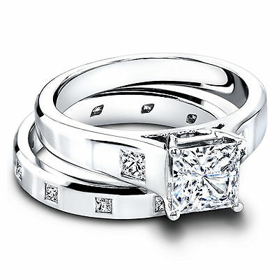 Fine Rings Fine Jewellery Princess Cut 1.30 Ct Diamond Hallmarked 14k White Gold Engagement Rings Size M J